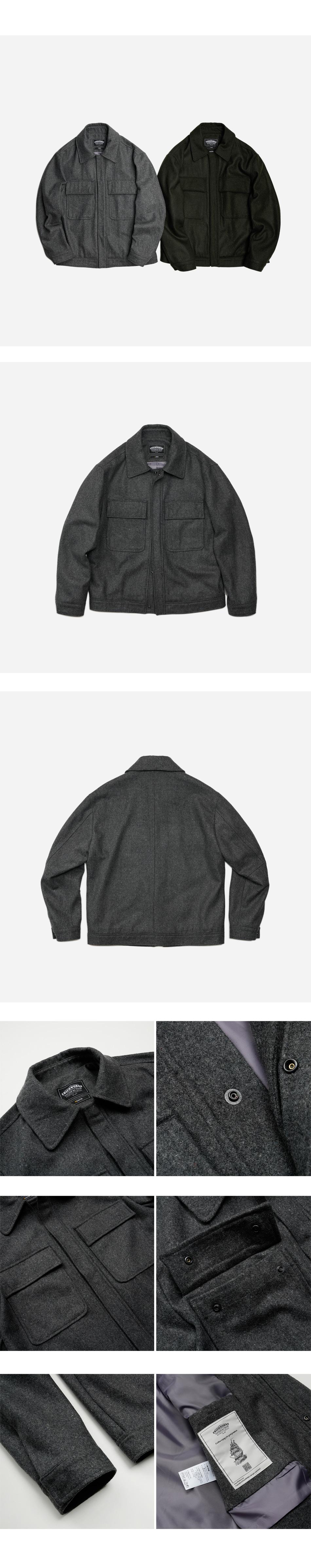 Minimal melton jacket _ charcoal